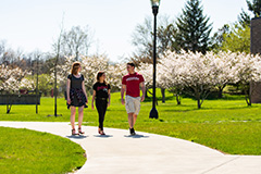Students walk across the IU East campus.