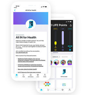 Screenshots of LifeOmic app